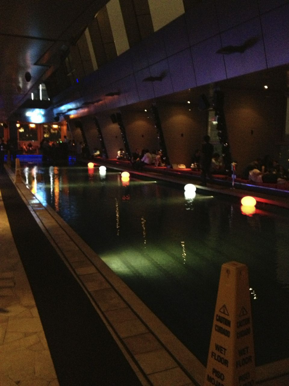 The pool... and the bar at night.