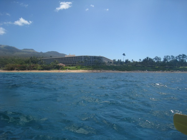 Our hotel - the Makena Beach Golf Resort, from the water.