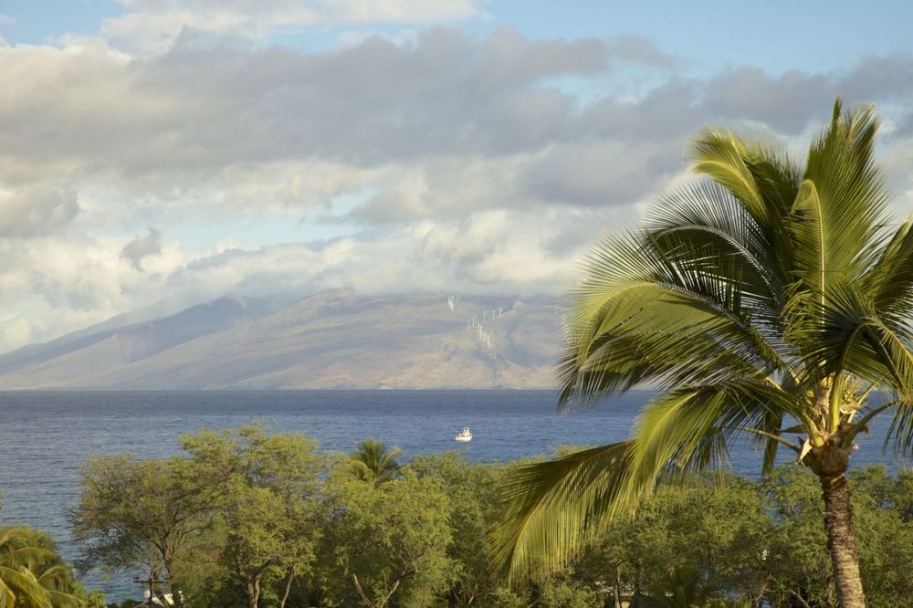 The view from our lanai (patio), looking out over the blue waters of Maui, towards the north end of the island.