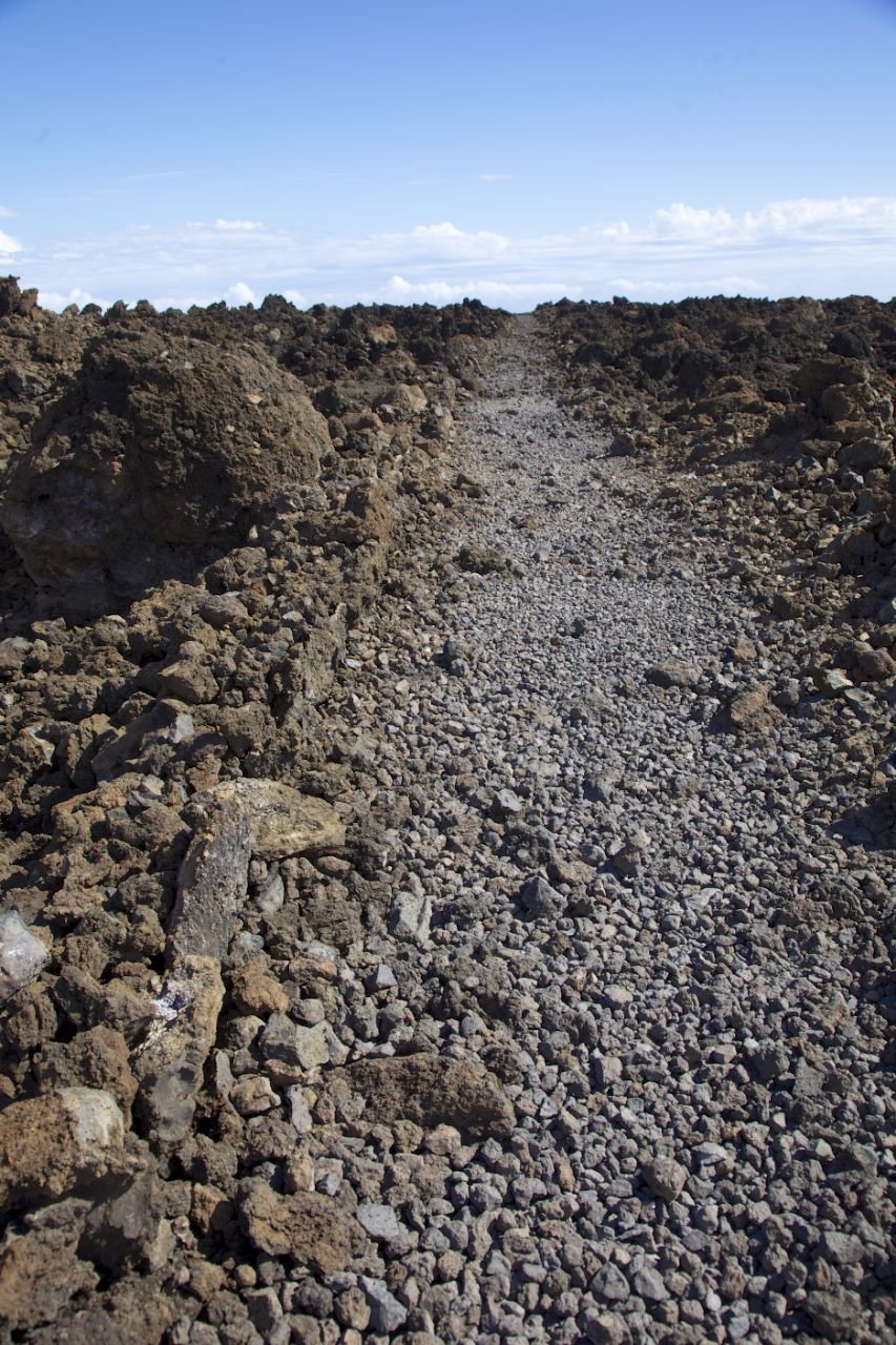 The trail across the lava beds was very clearly marked, and seemed to go on forever in places.