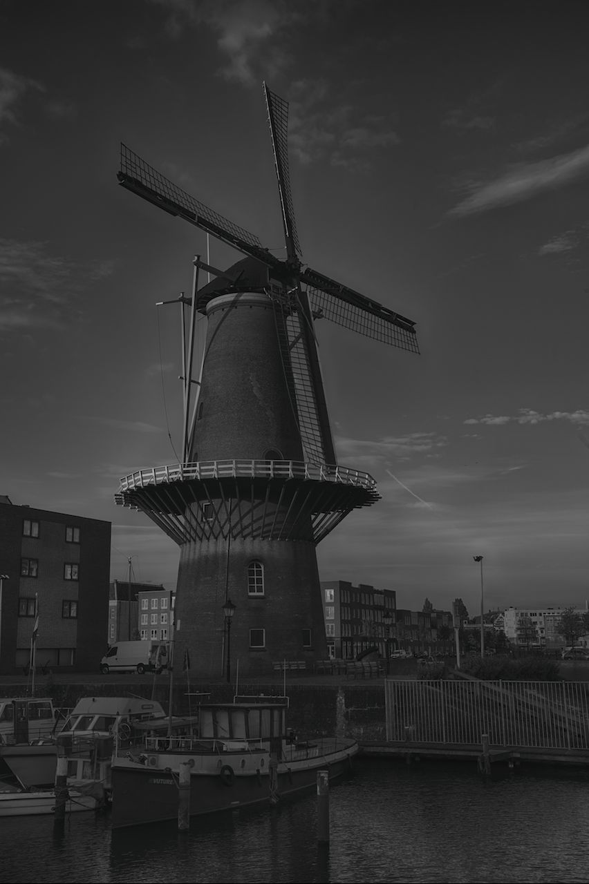 A black and white version of the windmill in Delfshaven.