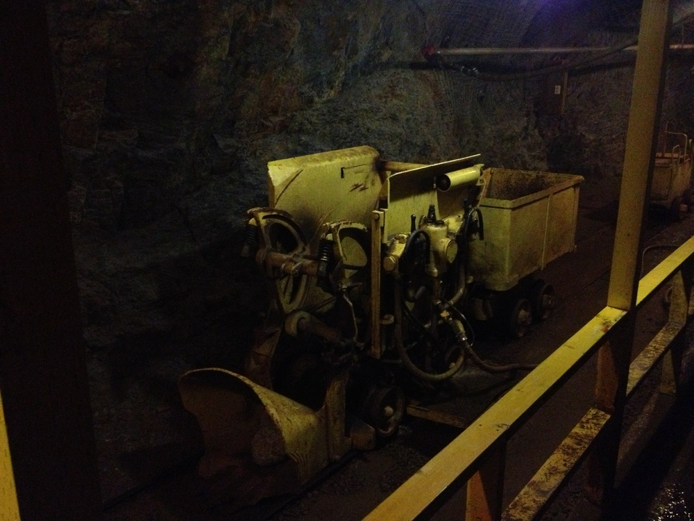 The small loader that was used to scoop up the debris from blasting and remove it from the mine shaft.
