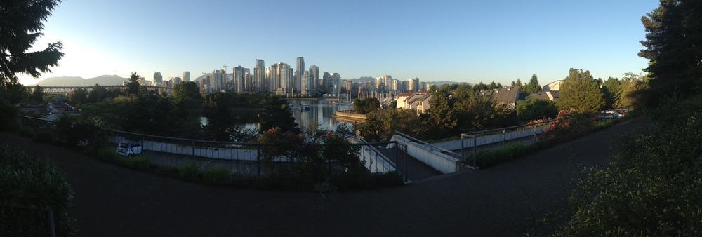 A panoramic view of downtown Vancouver, from near our new place.