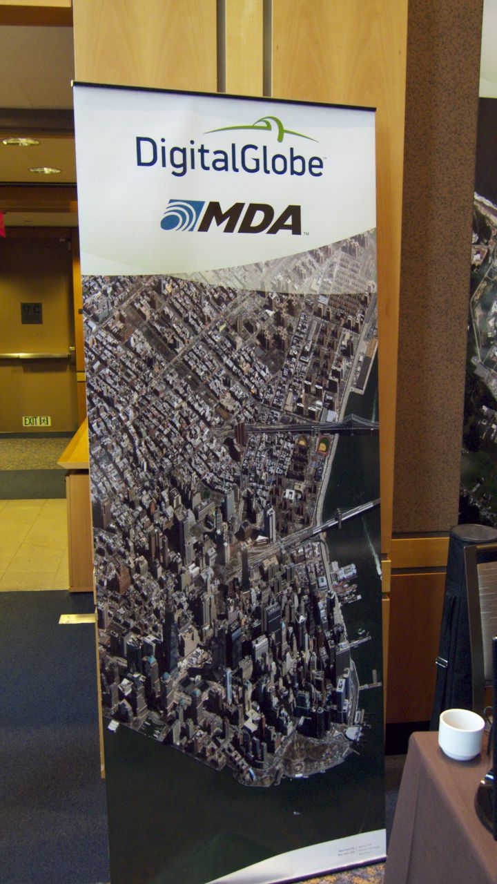 One of the banners was this great satellite image of downtown New York. Over the course of the to days, we picked out many interesting landmarks and features in the image.