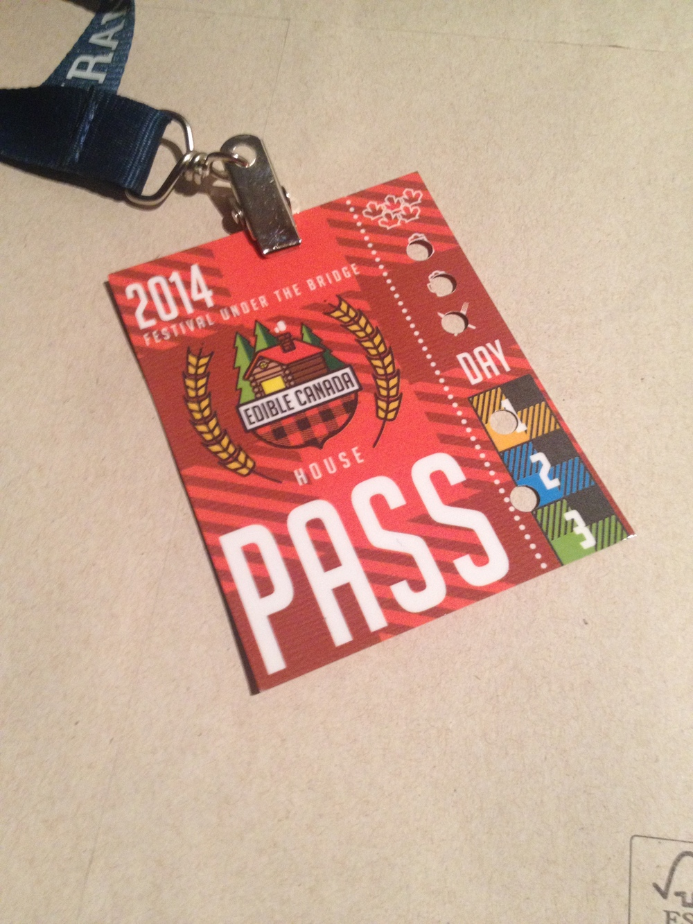 The all access pass... 3 days, 2 drinks and a meal