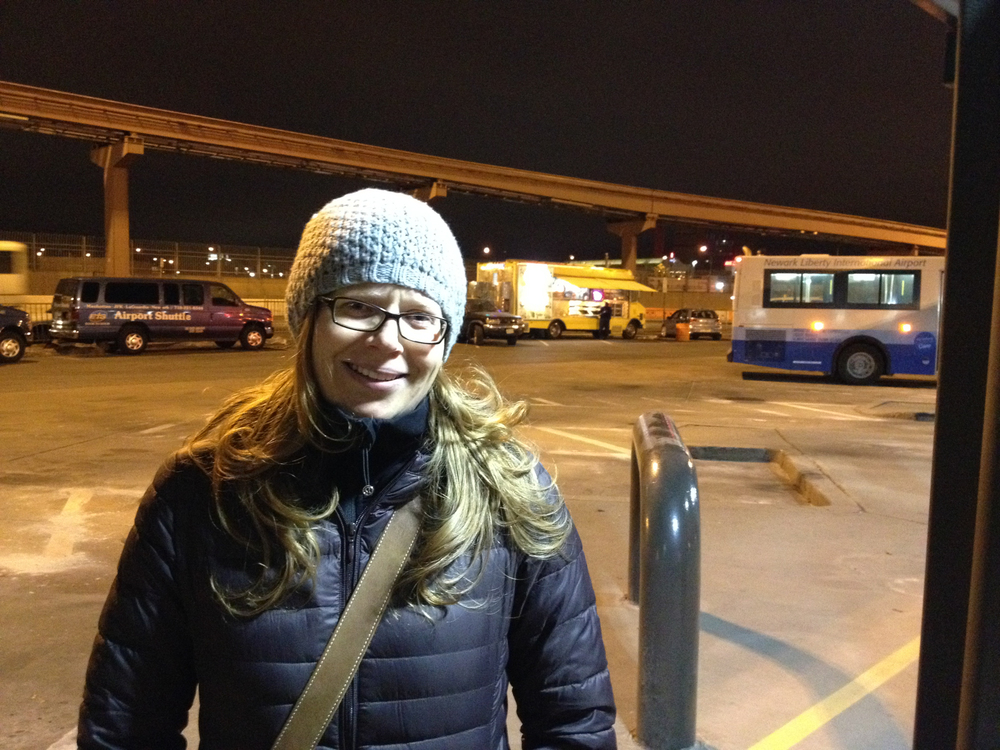On arrival at Newark airport in New Jersey. It was cold, but neither of us was hungry enough to be tempted by the food truck in the parking lot.