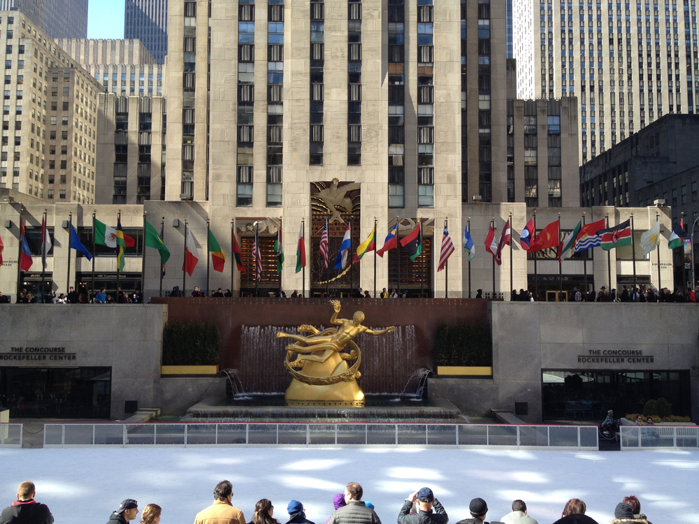 Despite the warm weather, the rink at Rockefeller Center was pretty busy.