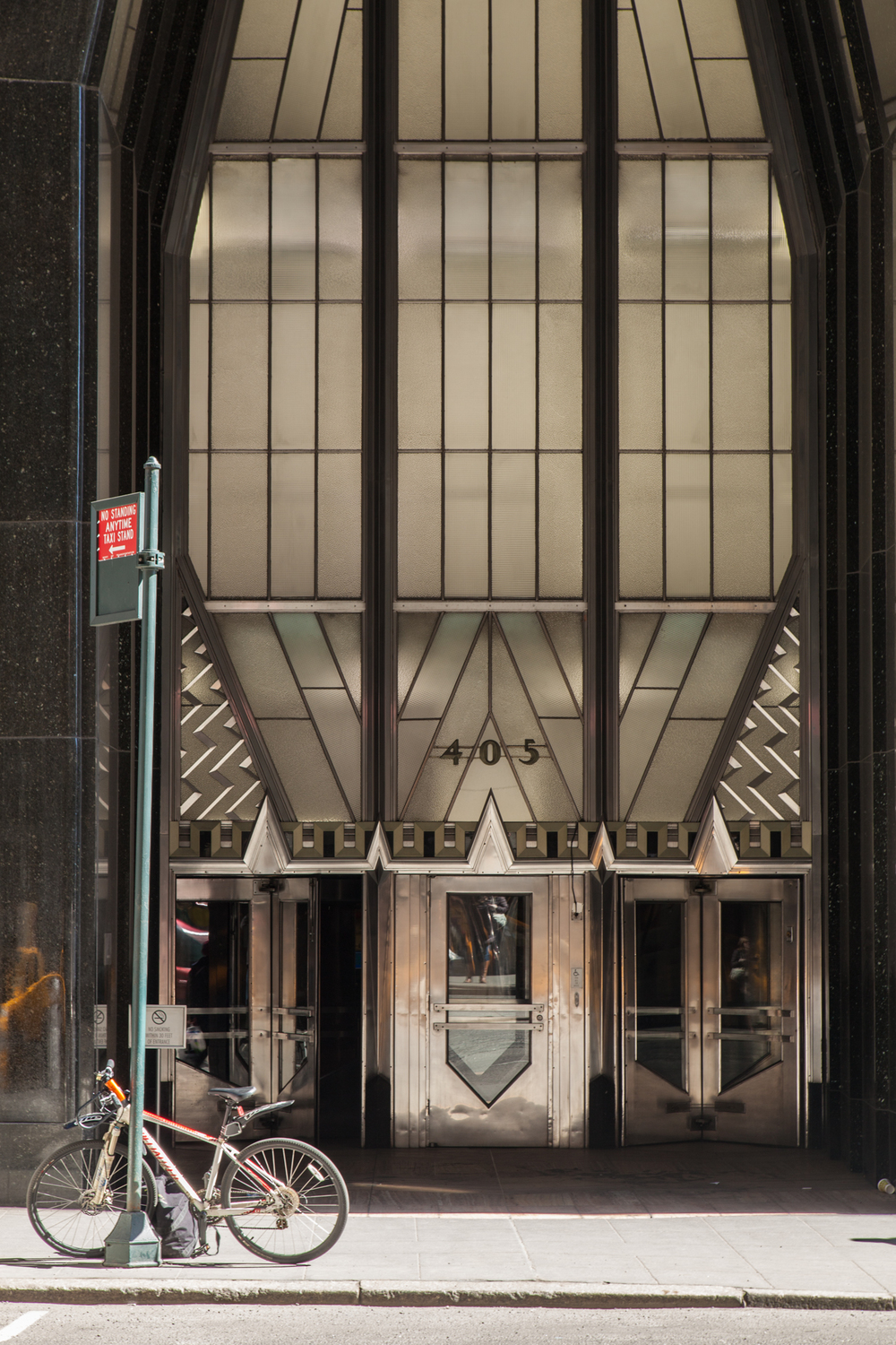 The Art Deco stylings on the entrance to the lobby of the Chrysler Building on Lexington Avenue.