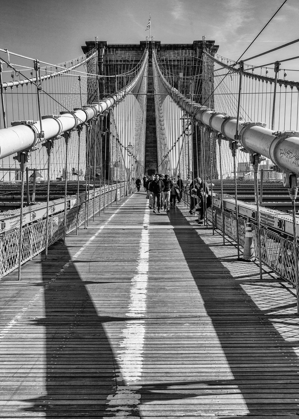 The walking path over the Brooklyn Bridge, coming from the Manhattan side. It was crazy busy, but every once in a while you were able to get something of a clear path to take some pictures. I feel like the Brooklyn Bridge needs to be photographed in black and white, so I converted most of my shots.