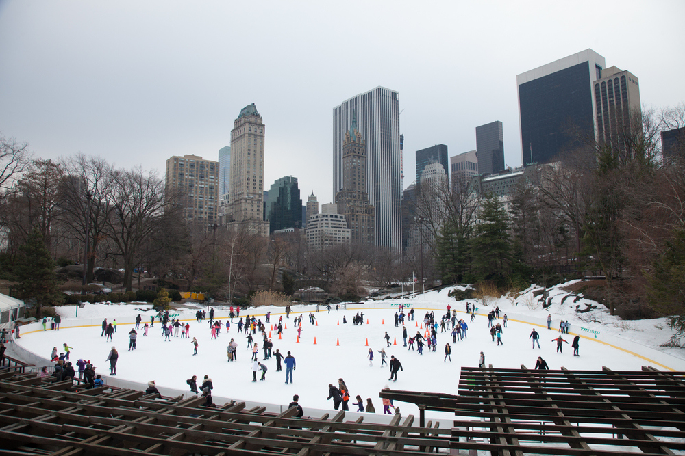 The Wollman Rink in Central Park, from the upper observation area, with a great view back towards downtown.