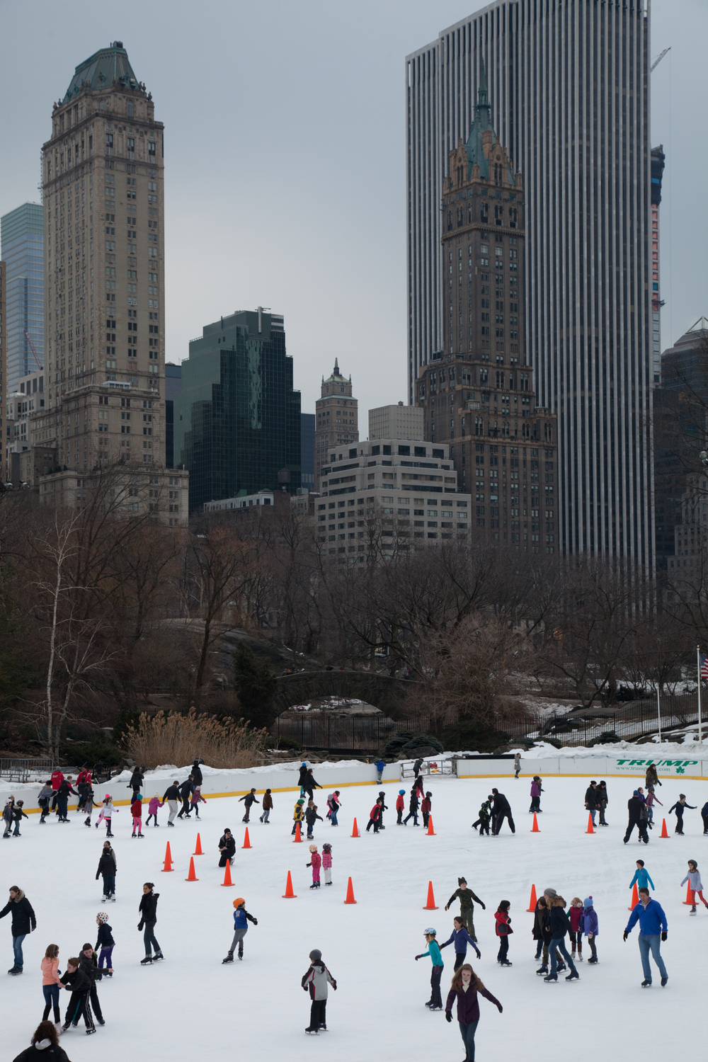 All the people skating on the Wollman Rink in Central Park.