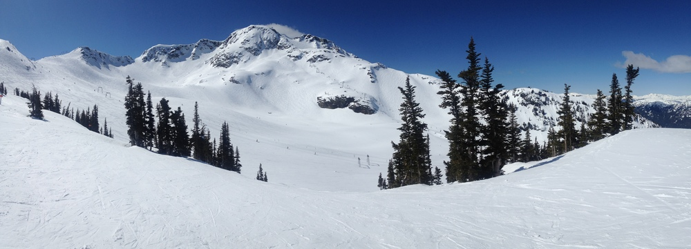 A pano of the Peak of Whistler. You can see the Saddle in the middle of the picture. It was fast and fun today.