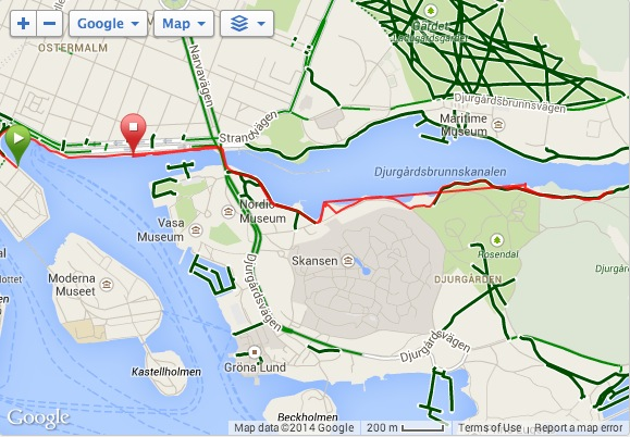 The map from my short run Friday morning. I stopped the timer to take pictures at one point, and forgot to restart it (hence the straight line).