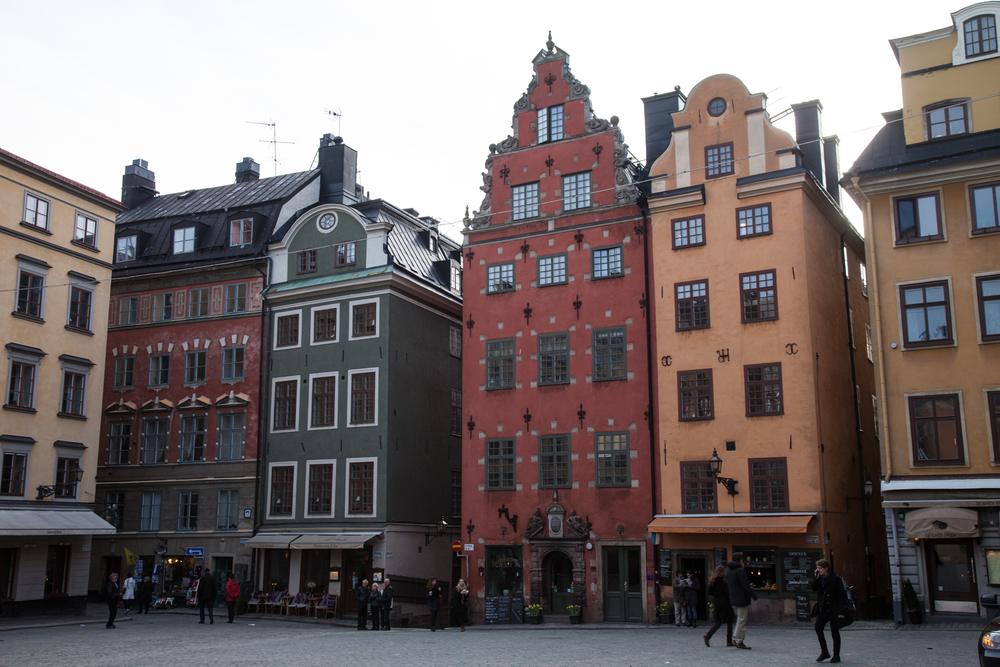 Some of the interesting buildings in the same square as the Nobel Museum.