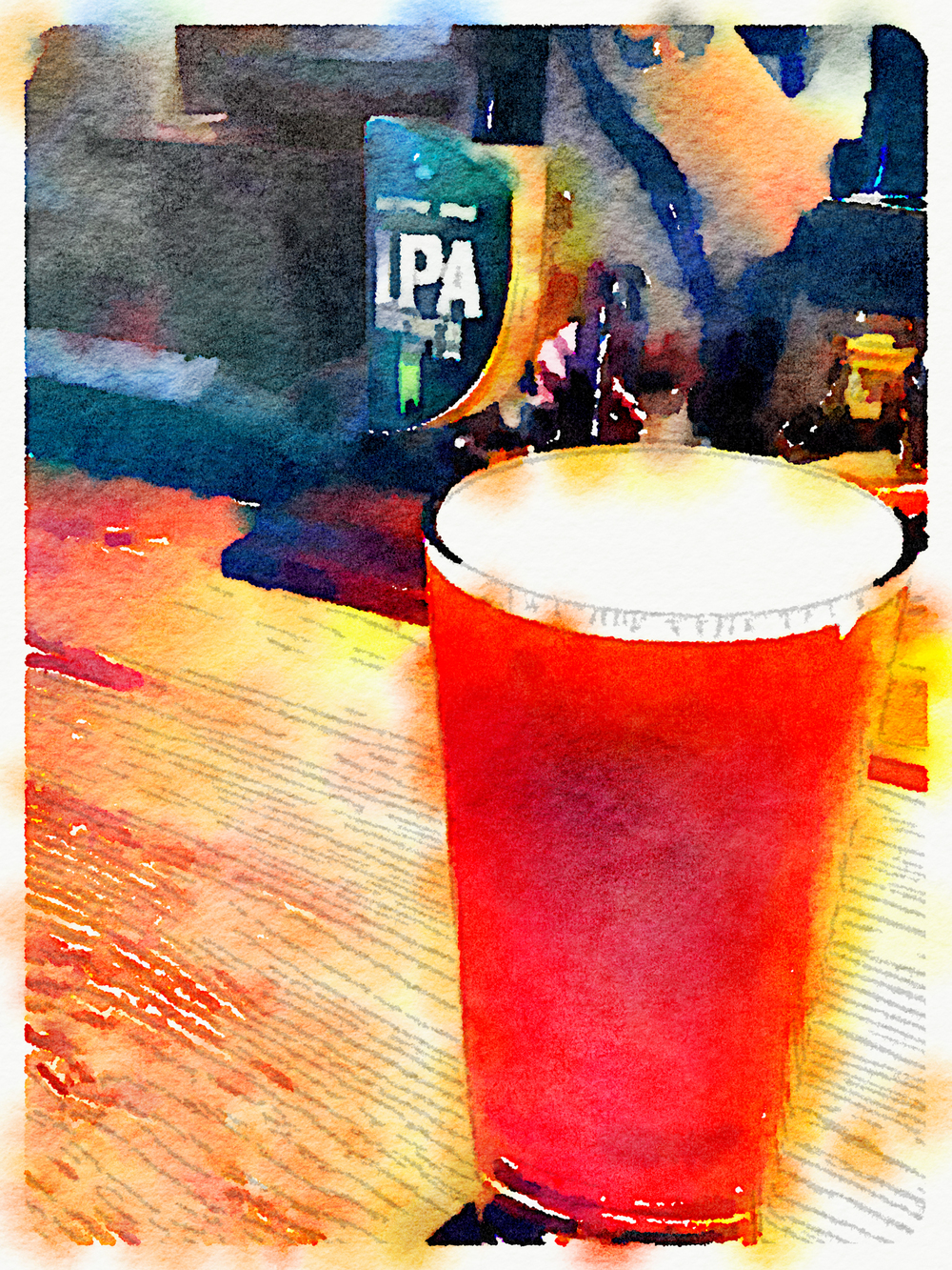 My flight home went through London, and while my layover was very short, it did give me a chance to have a proper British pint. Another Waterlogue-processed image.