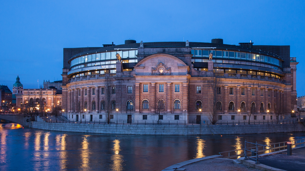 The rounded, back side of the Swedish House of Parliament.