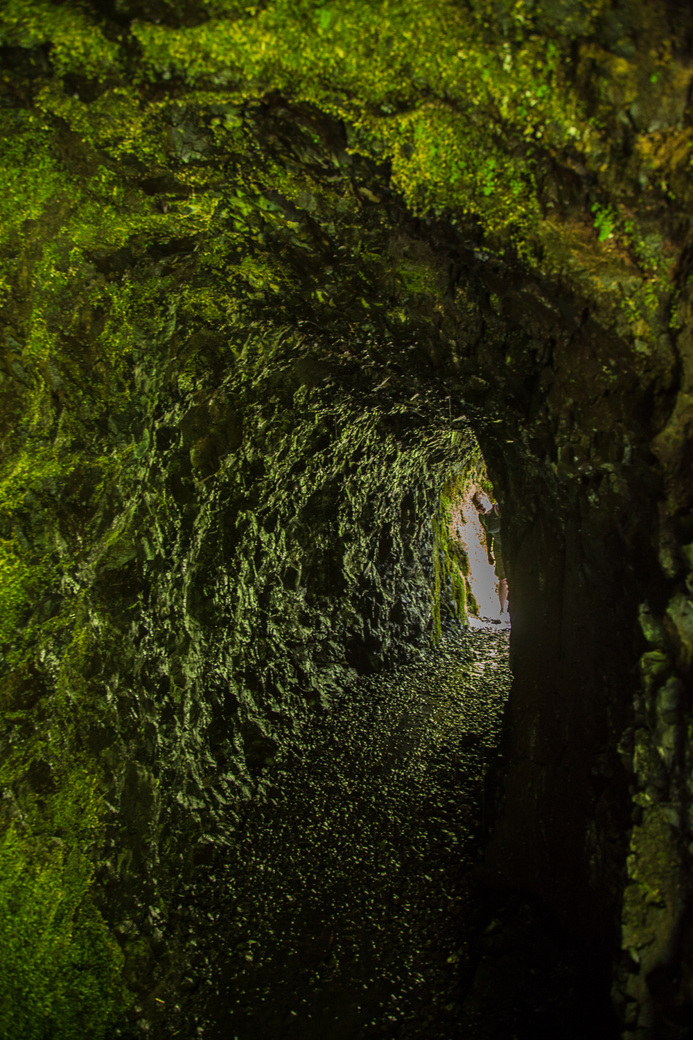 The tunnel, behind Tunnel Falls with Justine peeking in from the far side.