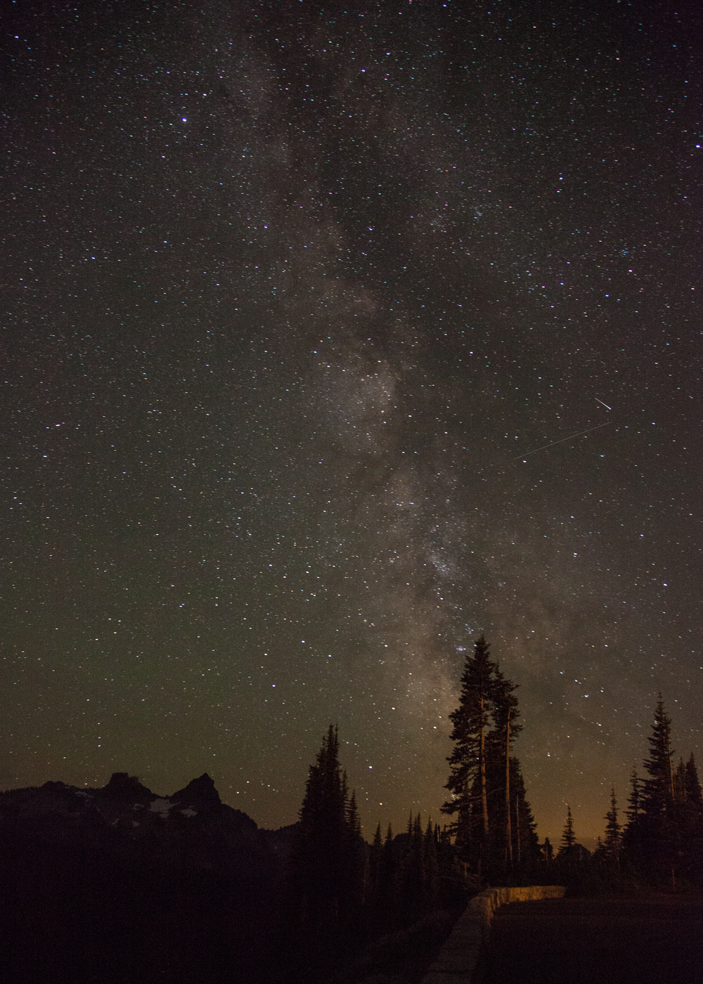 A view of the Milky Way, from the road at Paradise on Mount Rainier.