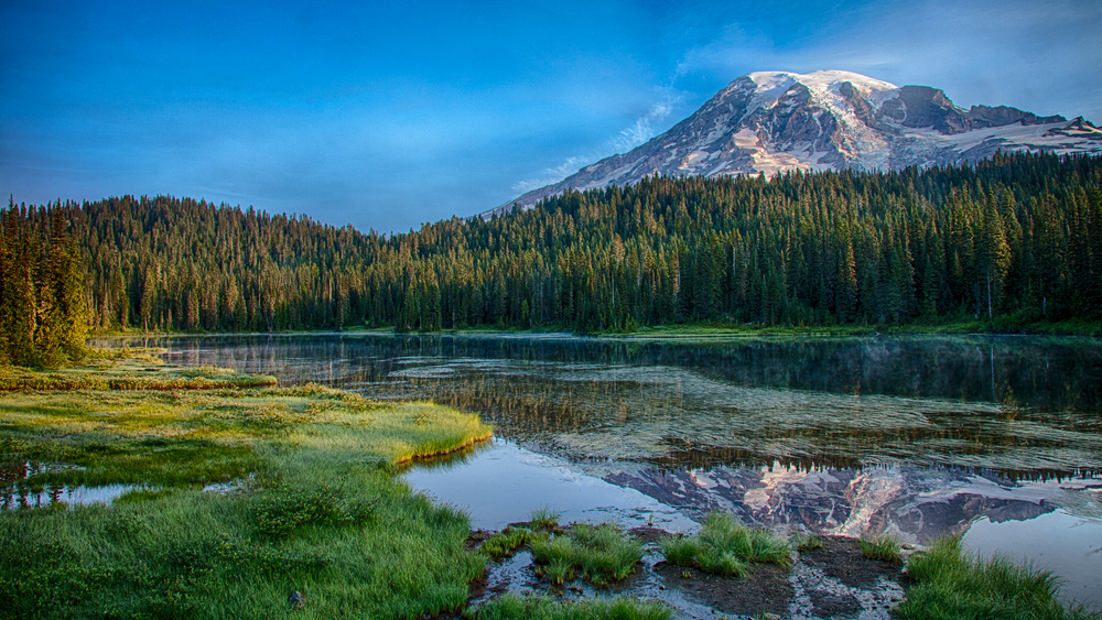 Our first sunrise on Mount Rainier. Reflection Lake lives up to its name, providing a perfect reflection of the mountain in the early morning sun.