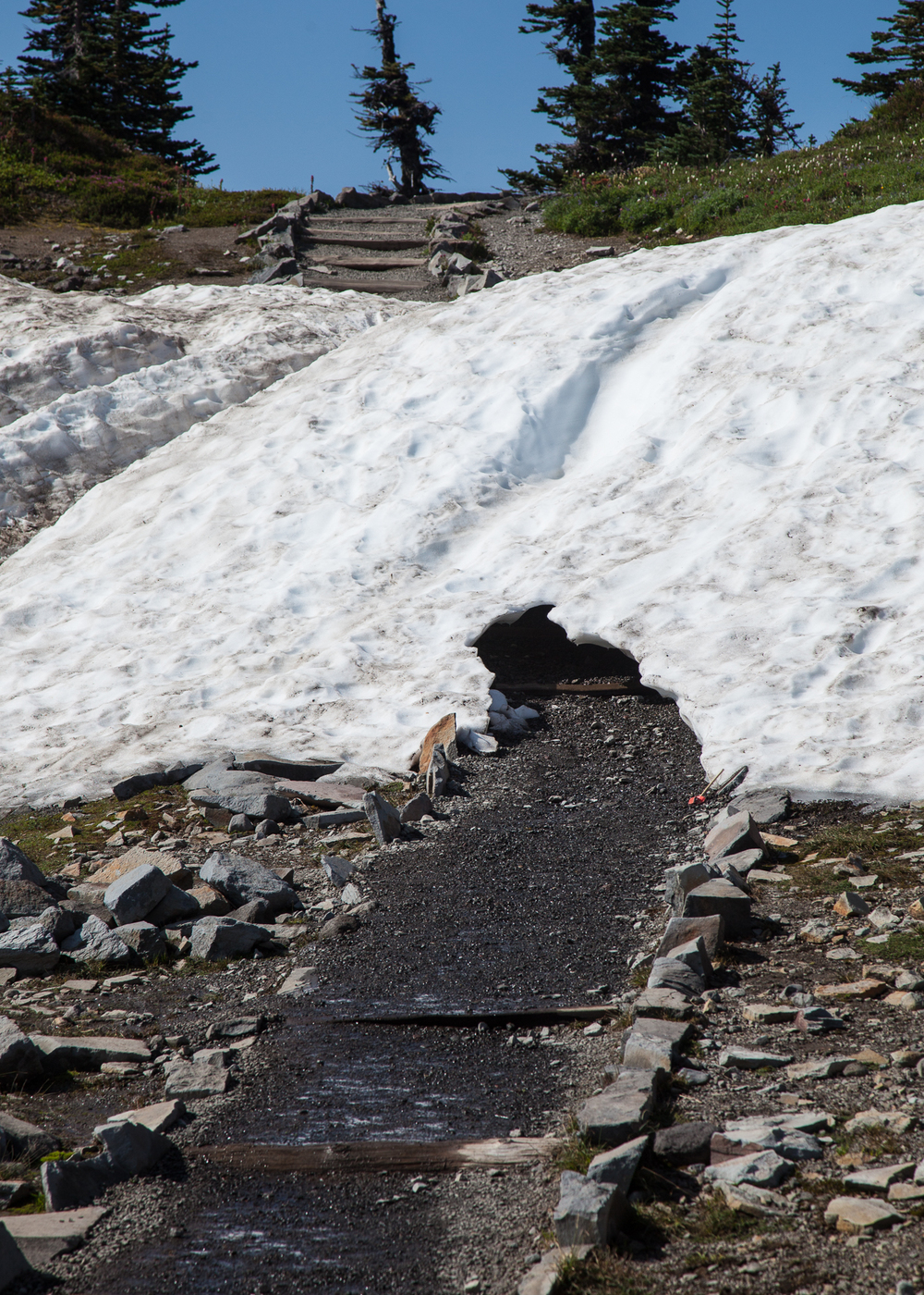Even in late August, there were still spots where the snow covered the path.