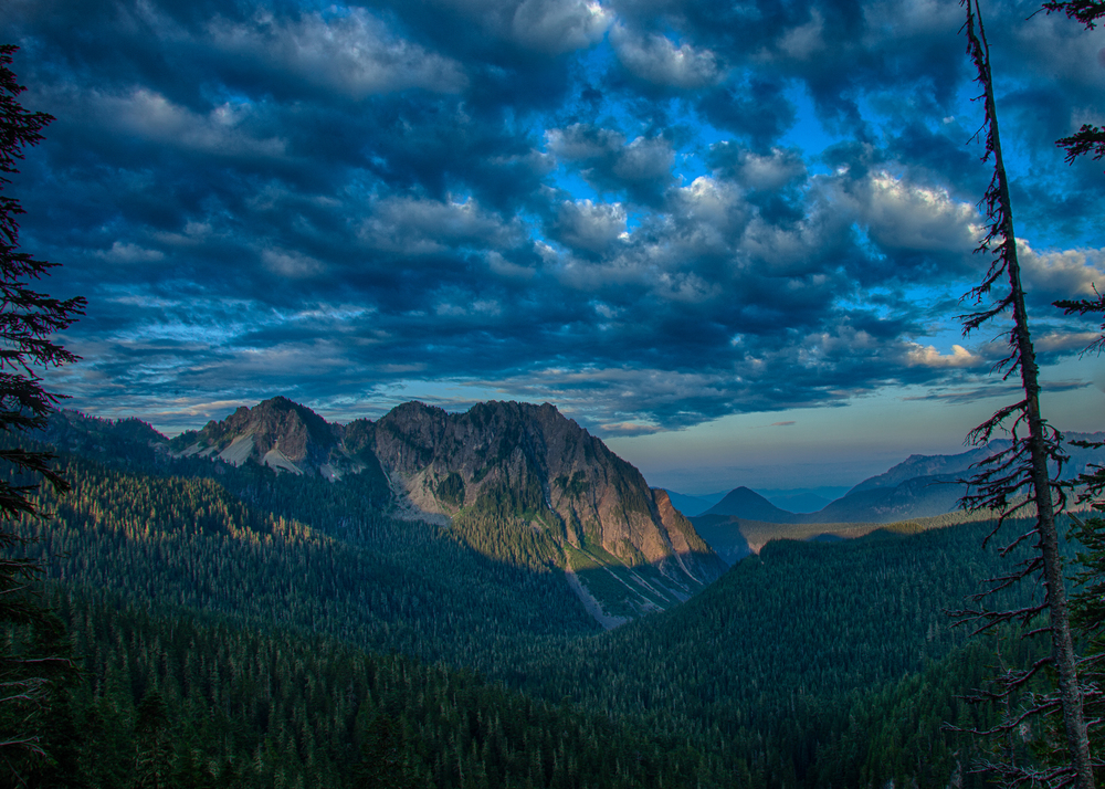 This shot was taken facing away from Mount Rainier, back up the valley as the sun rose on our last day on the mountain.