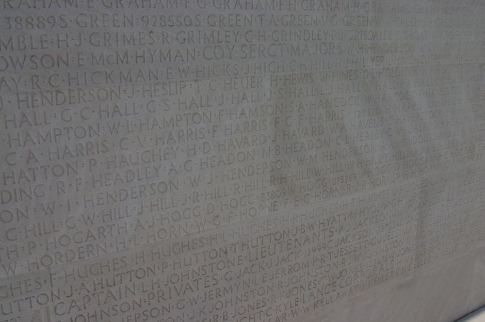 Names on the Canadian Memorial at Vimy Ridge.