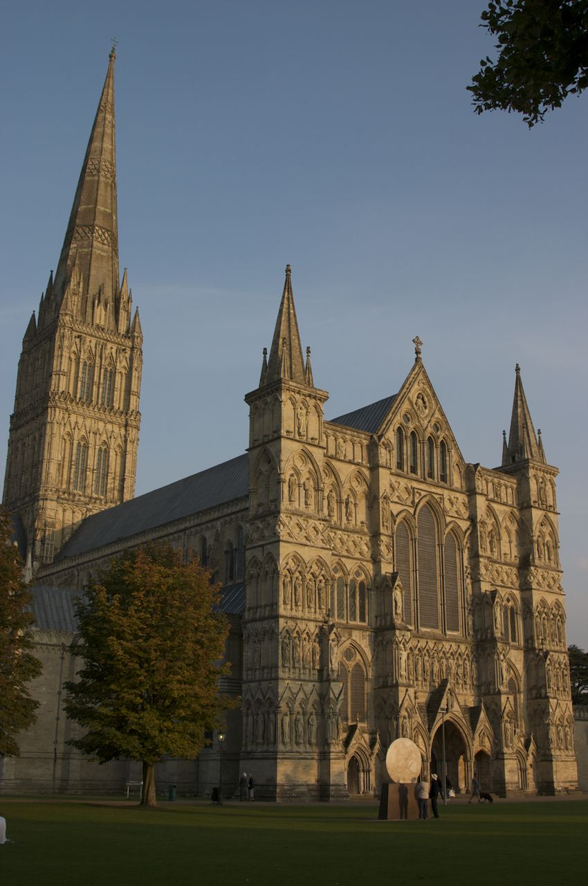 Salisbury Cathedral, in very nice evening light.