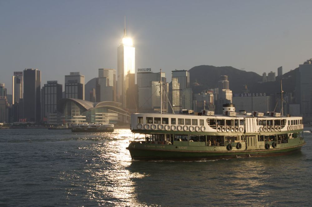 Star Ferry with Hong Kong behind it