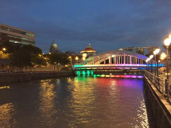 Lighted bridge on the River Walk