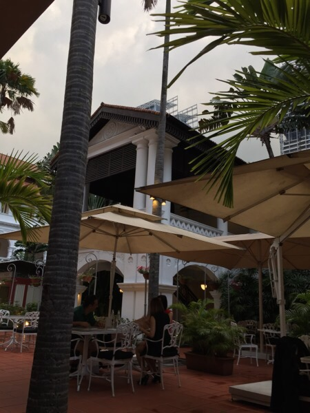 The courtyard at the Raffles Hotel