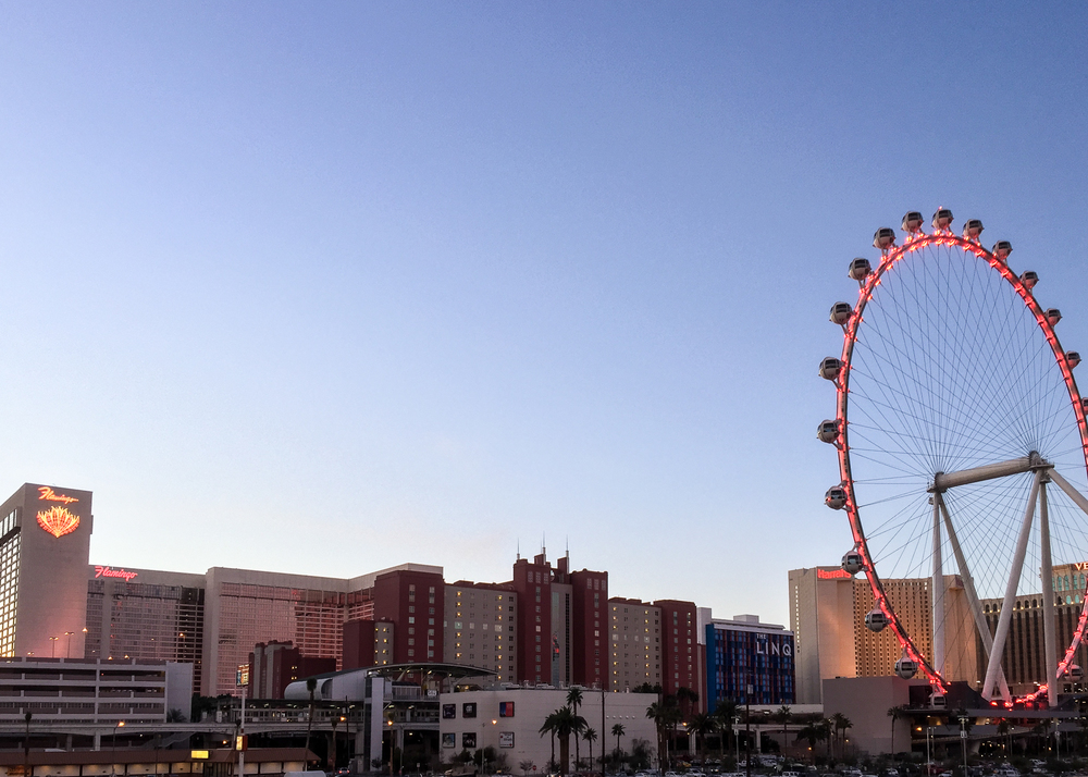 "The view up to the Strip from the Westin; the new ferris wheel is called ""High Roller"" - how appropriate!"