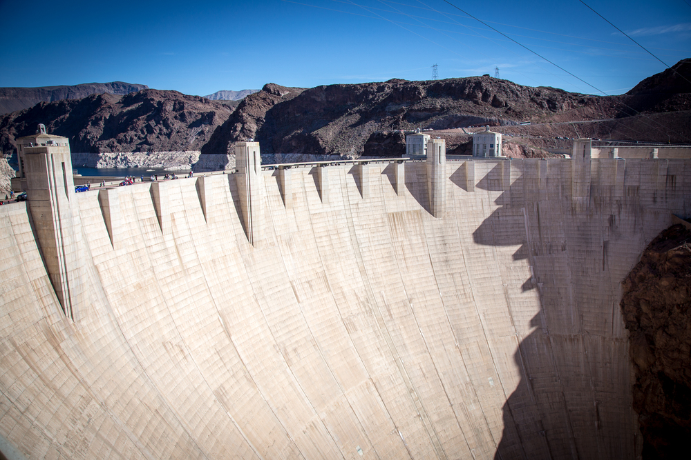 The Hoover Dam, from outside on the top walkway.