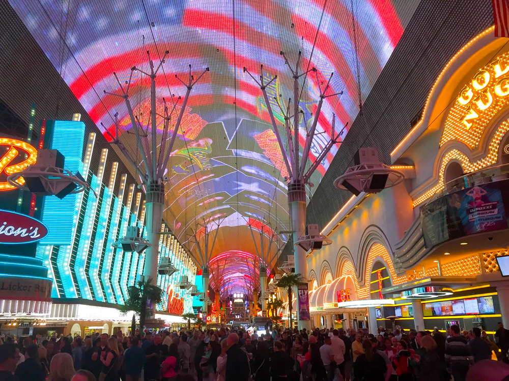Justine had never experienced Fremont Street, so we headed over there Friday night for dinner, and to check out the craziness.