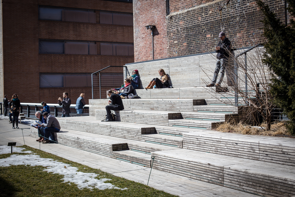 New Yorkers enjoying the start of spring on the High Line.
