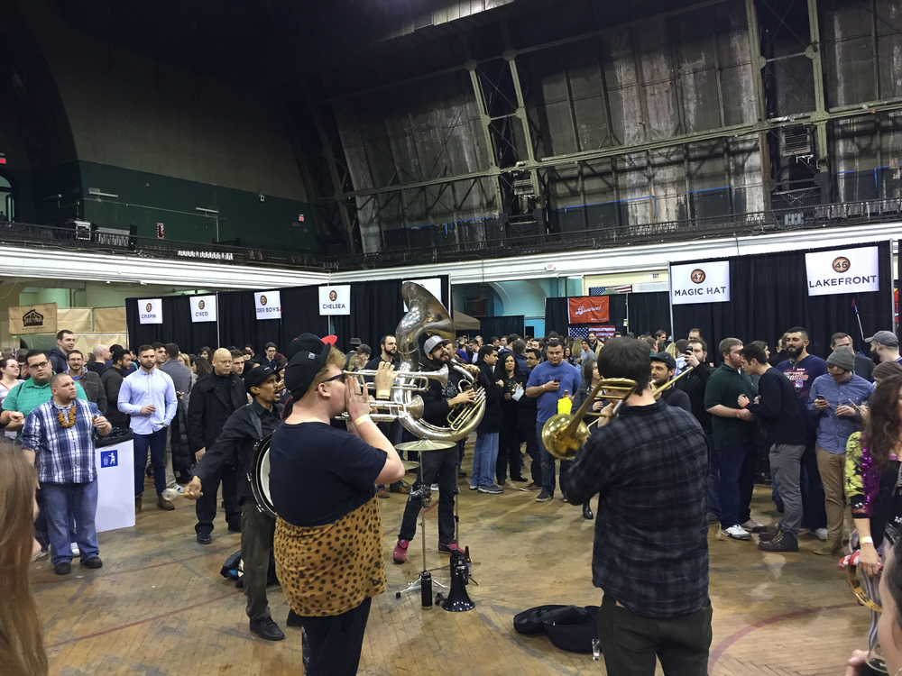 The brass band playing at the NYC Craft Beer Festival
