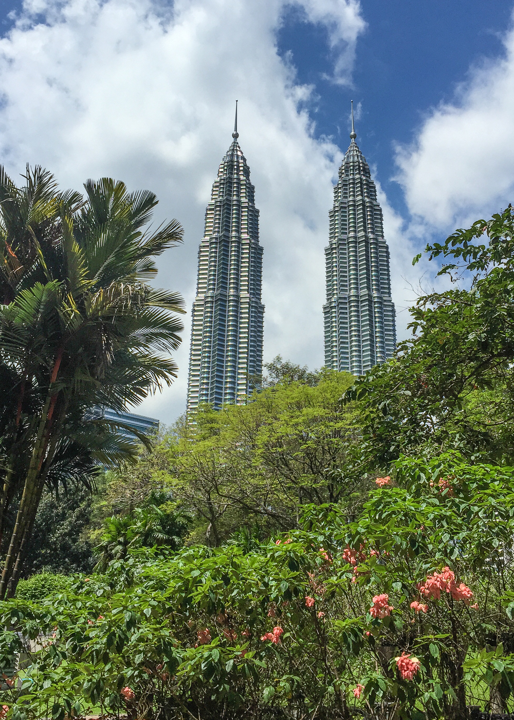 The Petronas Towers dominate the KL skyline. A view from the park under our hotel.