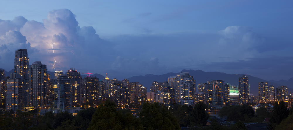 Lightning over downtown Vancouver