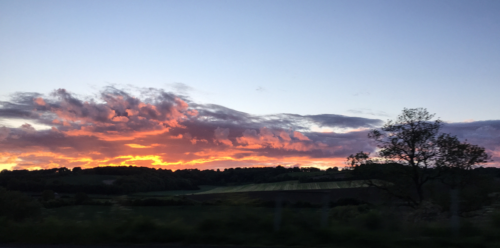There was a spectacular sunset on the drive back to Mark's place.