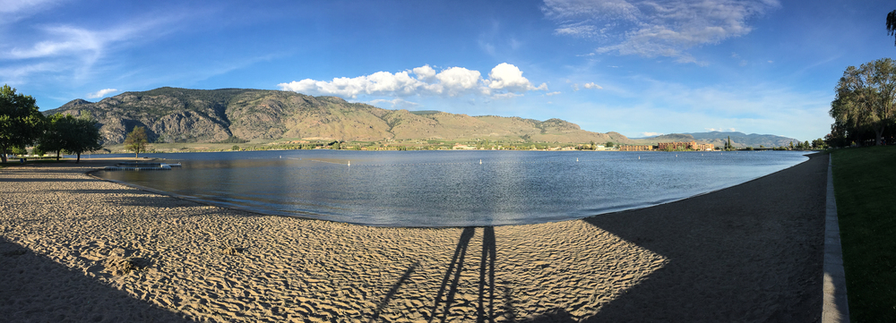 Panorama of Lake Okanagan, from the beach outside the front of the resort.