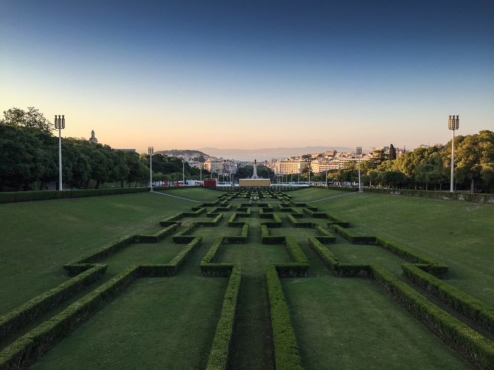 Eduardo VII Park with Lisbon and the Tagus river in the background