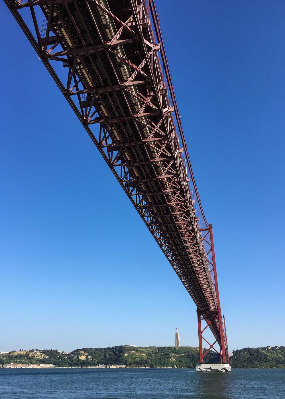 Ponte 25 de Abril from below, with theSantuario Nacional de Cristo Rei