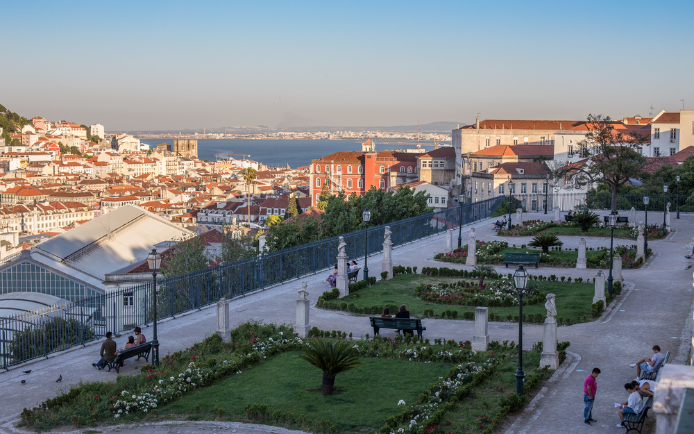 Garden of San Pedro de Alcantara, and views over Lisbon