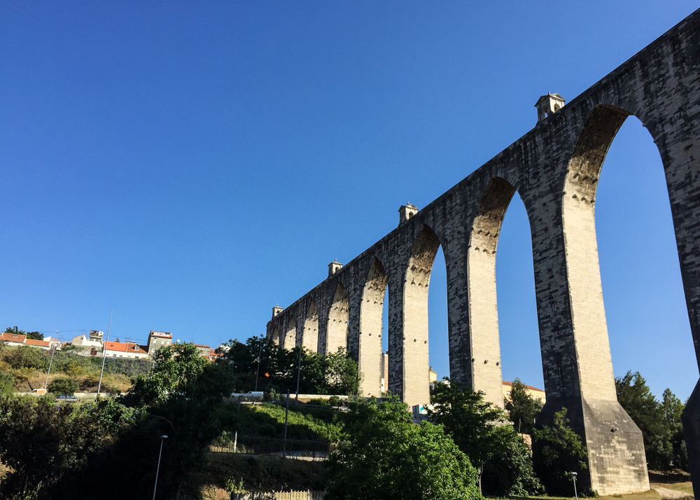 Águas Livres Aqueduct. It is one of the most remarkable examples of 18th-century Portuguese engineering. The main course of the aqueduct covers 18 km, but the whole network of canals extends through nearly 58 km. Construction started in 1731 and was completed in 1747.
