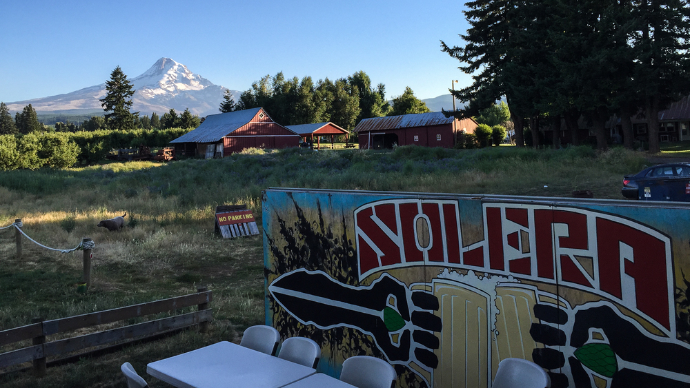 The back patio at Solera has an amazing view of Mount Hood.