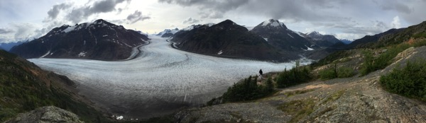 A panoramic view of the massive Salmon Glacier.
