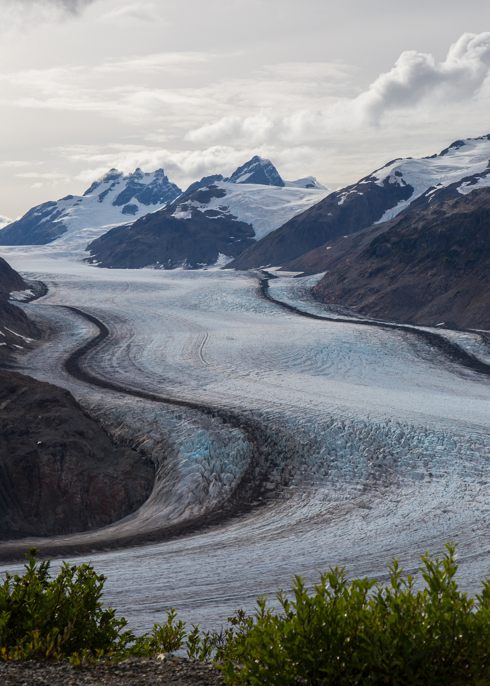 The Salmon Glacier is amazing. This huge river of ice, frozen in place and filling the valley between the mountains.