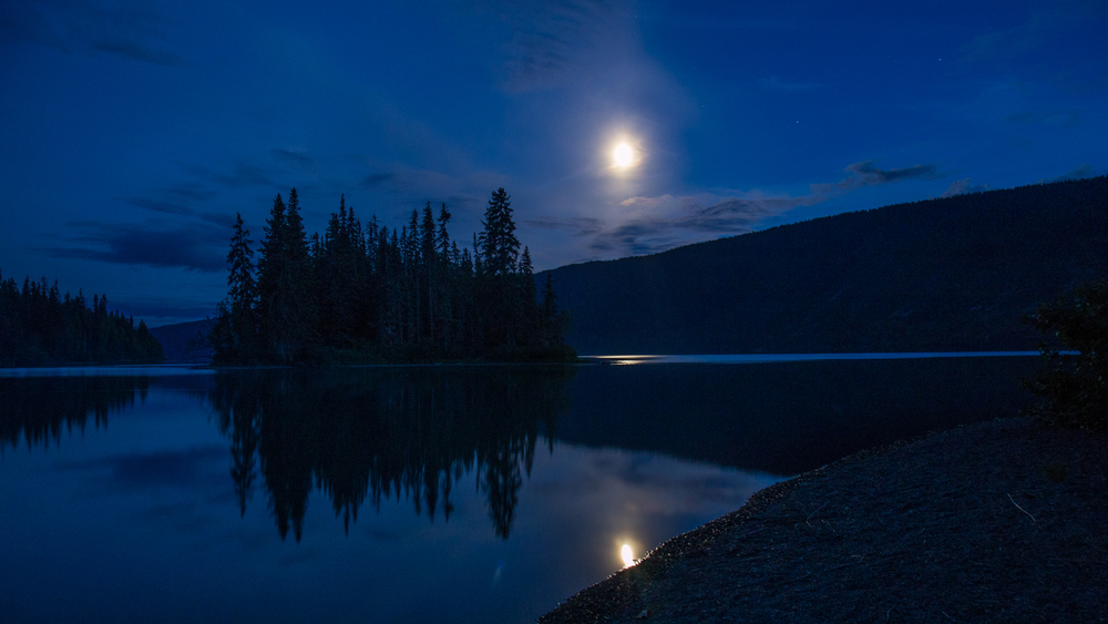 Meziadin Lake at moonrise.