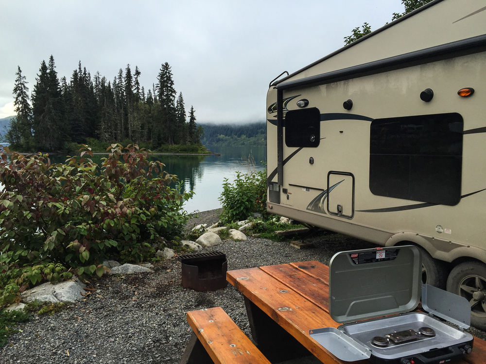 Breakfast at Meziadin Lake Provincial Park, before getting on the road. There was some great morning mist hanging over the lake.