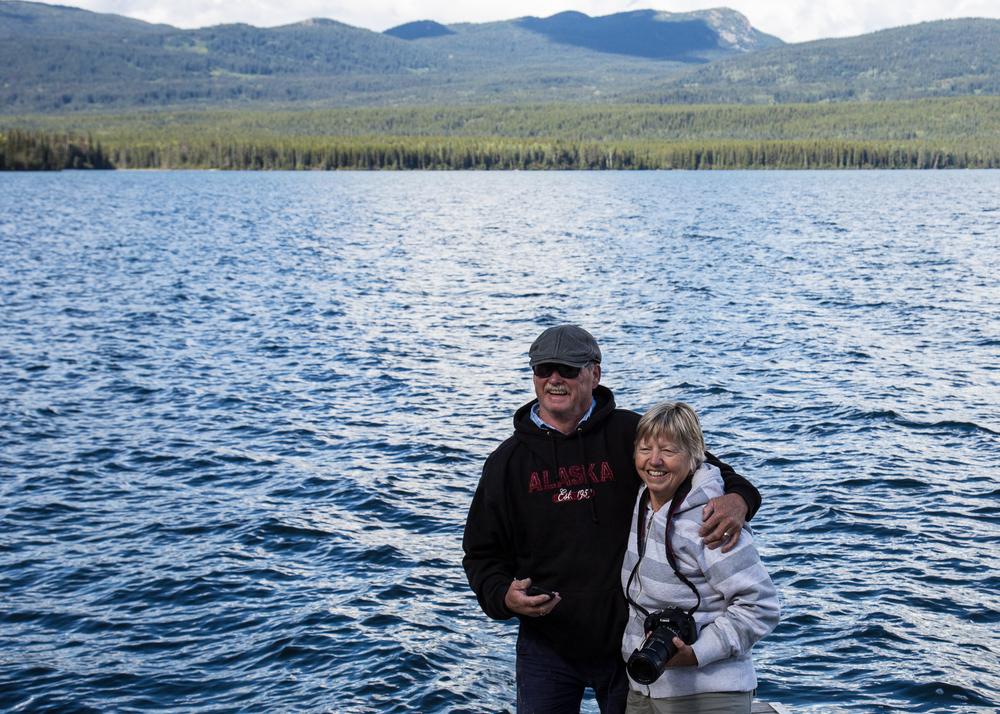 Mom and Dad trying not to fall into Kinaskan Lake.