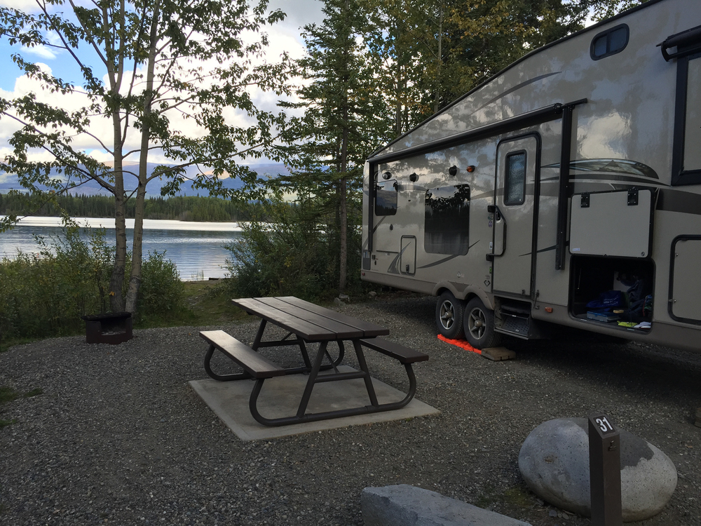 Our campsite at Boya Lake. A perfect spot on the lake, with a view north. That ended up being key...